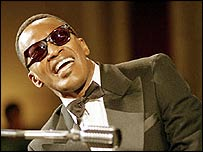 Jamie Foxx as Ray Charles in the movie RAY